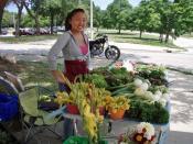 English: Farmer at the Farmer's Market, across the street from the Martin Drive Neighborhood, Milwaukee.