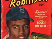 Front cover of Jackie Robinson comic book (issue #5). Shows head-and-shoulders portrait of Jackie Robinson in Brooklyn Dodgers cap; inset image shows Jackie Robinson covering a slide at second base.