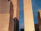 English: The Twin Towers of the World Trade Center from Battery Park City..
