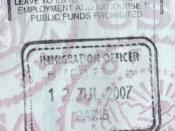 UK passport entry stamp from Paris for travel in the Channel Tunnel to London