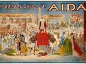 1908 poster for Giuseppe Verdi's Aida, performed by the Hippodrome Opera Company, apparently of Cleveland, Ohio.