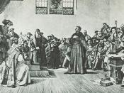 Luther Before the Diet of Worms, photogravure after the historicist painting by Anton von Werner (1843-1915) in the Staatsgalerie Stuttgart.