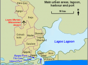 Map of Lagos, Nigeria showing urban areas, lagoon, harbour, port areas