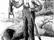 Drawing of Huckleberry finn with a rabbit and a gun, by EW Kemble from the original 1884 edition of the book. 哈克貝利及一隻兔子和槍的畫作。