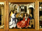 English: triptych, history of art 1 course 5 , tableau at the Metropolitan Museum of Art *CAMPIN, Robert (the Master of Flemalle) *Merode Altarpiece *c. 1425 *Triptych, oil on wood *Center panel 25 1/4 x 24 7/8 in *Left wing 25 3/8 x 10 3/4 in. *Right win