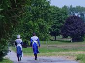 Two Amish girls in traditional attire, Lancaster County