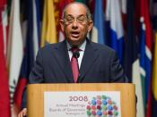 Finance Minister of Egypt and Chairman of the IMF's International Monetary and Financial Committee Youssef Boutros-Ghali speaks during the IMF-World Bank Annual Meetings at the DAR Constitution Hall October 13, 2008 in Washington, DC