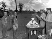 English: A Japanese solider and war criminal is sentenced to death. US Navy War Crime Trials Guam 81946-48) Deutsch: Als Kriegsverbrecher zum Tode veruteilter japanischer Soldat bei der Urteilsverkündung durch military commission der US Navy