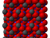 Space-filling model of part of the crystal structure of lead(II) nitrate, Pb(NO 3 ) 2 . X-ray crystallographic data from H. Nowotny and G. Heger (1986).