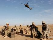 English: US and Iraqi Army Soldiers guard borders in Iraq