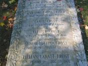English: The stone covering Robert Frost's family grave in Bennington, Vermont, USA
