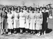 English: New enlistees to the W.R.A.N.S., Brisbane? Queenland, 1942 A few of the first draft of girls to enlist in the Women's Royal Australian Naval Service in Queensland.