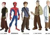 Character designs to some of the main characters in The Spectacular Spider-Man. Left to right: Mary Jane Watson, Gwen Stacy, Harry Osborn, Spider-Man, Peter Parker, J. Jonah Jameson, Dr. Curt Connors and Eddie Brock.