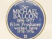 English: A Blue Plaque to Sir Michael Elias Balcon on the front wall of the White Lodge at Ealing Sudios. He produced some of his best work here.