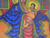 A fresco of a black Madonna and Jesus in Axum Cathedral, Ethiopia