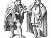 German Jews of the upper Rhine region, sixteenth century. From the Basel Stammbuch of 1612. Published in the 1901-1906 Jewish Encyclopedia, now in the public domain.http://www.jewishencyclopedia.com The circel on the cloaks are the rota or Jewish ring, th