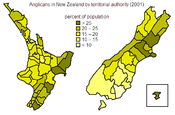 Distribution of Anglican population within New Zealand at the 2001 census.