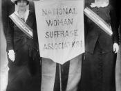 Suffragists Mrs. Stanley McCormick and Mrs. Charles Parker, April 22, 1913, holding a banner between them reading