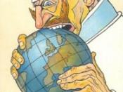 French Military Propaganda postcard showing a caricature of Kaiser Wilhelm II biting the world (c. 1915)