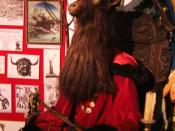 English: The sculpture of the Wiccan Horned God at the Museum of Witchcraft.