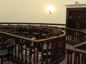 The jury box in the Pershing County, Nevada, Courthouse. Unusually, this jury box is in the middle of the room.