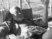 English: Ernest Hemingway on safari, Kenya, 1954