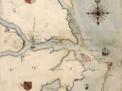 1585 map of Chesapeake Bay to Cape Lookout by John White. Nederlands: Een kaart van het Roanoke-gebied, door John White