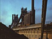 Blast furnaces and iron ore at the Carnegie-Illinois Steel Corporation mills, Etna, Pennsylvania