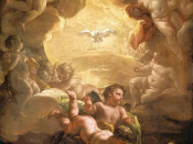 The Holy Spirit depicted as a dove, surrounded by angels, by Giaquinto, 1750s.