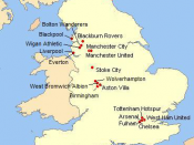 English: Localisation of Premier League clubs season 2010-2011 Français : Géolocalisation des clubs de Premier League de 2010-2011