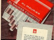 du Maurier Cigarettes. Advert early 1960s