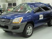 Crash-tested 2008 Kia Sportage photographed at the Insurance Institute for Highway Safety Vehicle Research Center. IIHS crash test page Category:Kia Sportage JE Category:Crash tests Category:Blue SUVs