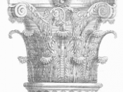 English: Corinthian column capital. Svenska: Korintiskt kapitäl.