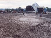 Glastonbury Festival in the rain, 1985