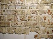 Reconstructed wall decorations from the Temple of Akhenaten at Karnak. The building was later demolished and its stone blocks (