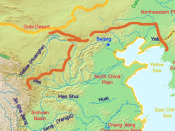 English: A map of the great wall of china of Qin Dynasty. The red lines indicate the Qin era wall. The yellow line indicates the current border of China. Deutsch: Eine Karte der chinesischen Mauer zur Zeit der Qin Dynastie. Die rot eingezeichneten Teile d