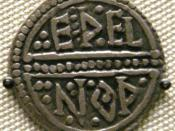 English: Reverse of a coin of King Offa of Mercia (reign 757–796), minted by the moneyer Ethelnoth (Eþelnoþ)