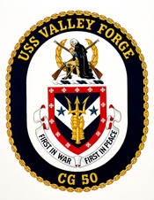 Approved insignia for: Guided missile cruiser USS VALLEY FORGE (CG 50).