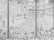 The Theatre Royal at Drury Lane in 1813. The platform stage is gone and the orchestra pit divides the actors from the audience.