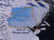 Photo glacier Larsen B et comparaison avec Rhode Island, USA