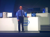 Sean Maloney, Executive Vice President of Intel Corporation, General manager of the Sales and Marketing Group, and Chief Sales and Marketing Officer, demonstrates computers capable with Windows Vista and Intel Core 2 Quad.