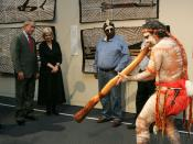 English: President George W. Bush enjoys a performance of Aboriginal song and dance during a visit Thursday, Sept. 6, 2007, to the Australian National Maritime Museum in Sydney.