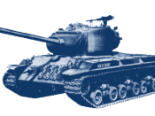 A generic U.S. World War II tank, a derivate of Image:TM-9-374-T25E1-1.jpg, background removed (transparent), hue set to steel blue, reduced size and colors.