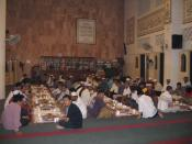 People gathered to break fasting in mosque