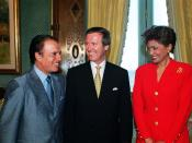 Argentina's President Carlos Saúl Menem (left) greets Secretary of Defense William S. Cohen (center) and his wife Janet at Casa Rosada in Buenos Aires, Argentina, on November 15, 1999. Cohen is visiting Argentina to meet with senior government leaders.