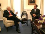 Vice President Dick Cheney meets with Gov. Arnold Schwarzenegger for the first time at the White House. Vice President Dick Cheney meets with California Gov.-elect Arnold Schwarzenegger in the Vice President's West Wing office Oct. 30, 2003. This is the f