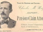Brief History: Civil War Pensions: The business card of one of the many attorneys specializing in pension claims, circa 1895. SSA History Archives.