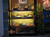 English: Display case of food in a Tokyo restaurant.