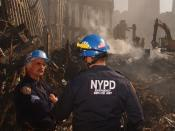 English: New York City Police Department at the site of the World Trade Center.