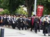 English: Academic procession at the University of Canterbury graduation ceremony 2004. Photo taken by User:Clawed.